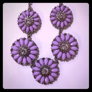 NWT Lilac Statement Necklace & Earring Set